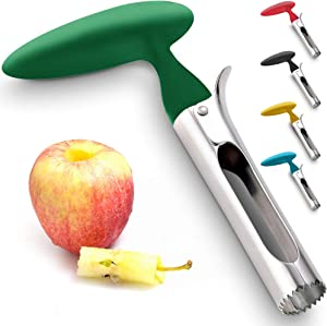 Premium Apple Corer - Easy to Use Durable Apple Corer Remover for Pears, Bell Peppers, Fuji, Honeycrisp, Gala and Pink Lady Apples - Stainless Steel Best Kitchen Gadgets Cupcake Corer - Zulay Green
