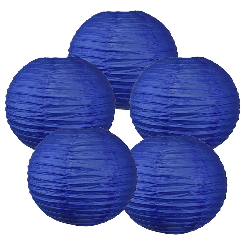 Just Artifacts ペーパーランタン5点セット - (6インチ - 24インチ) 12inch RPL5-120096 B01H47M1JE 12inch|ロイヤルブルー ロイヤルブルー 12inch