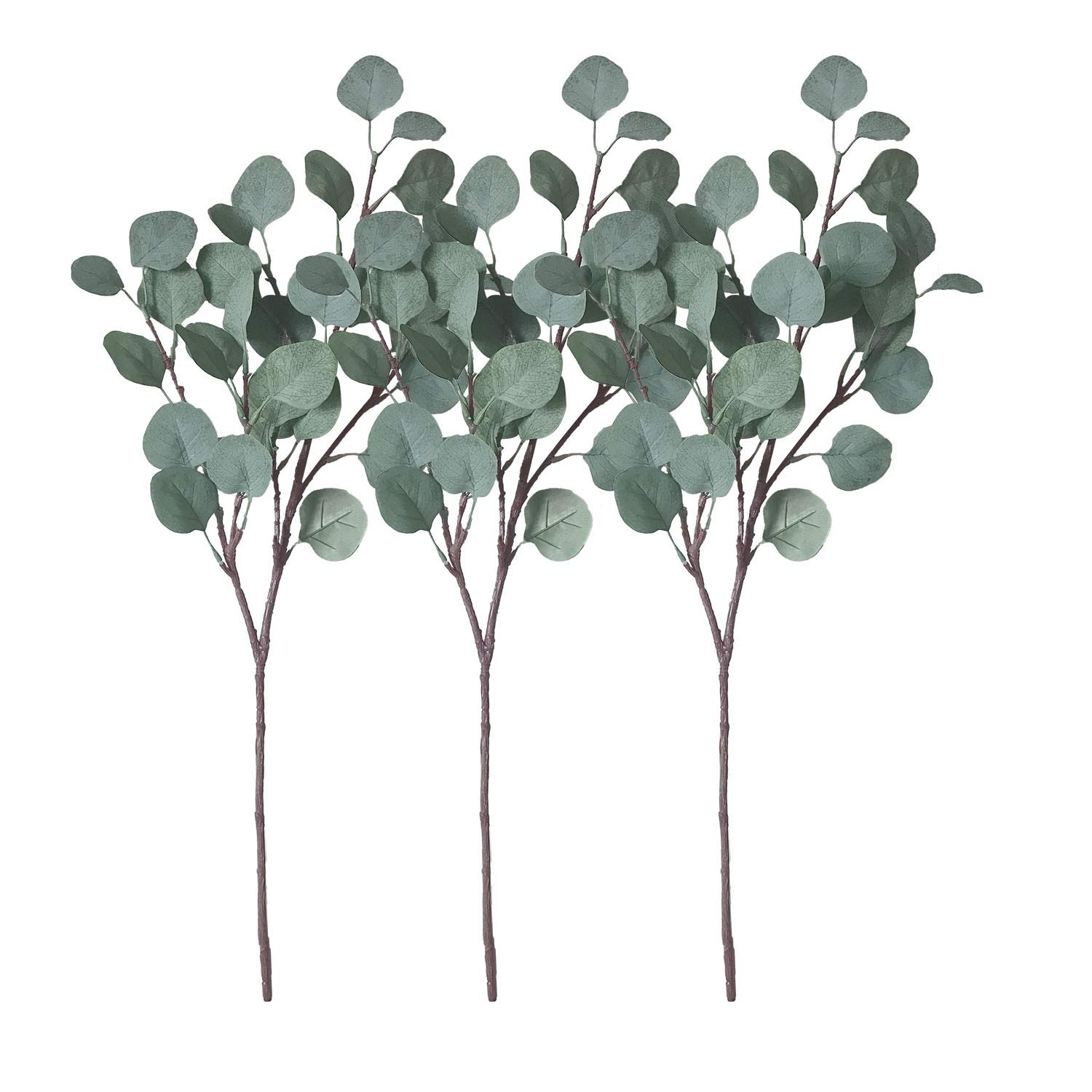 ZHIIHA 3 pcs Artificial Eucalyptus Garland Long Silver Dollar Leaves Foliage Plants Greenery Fake Plastic Branches Greens Bushes