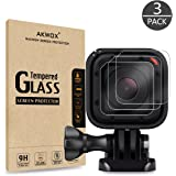 AKWOX Screen Protector for GoPro Hero 4 Session and GoPro Hero 5 Session, [Anti-scratch] Tempered Glass Cover for GoPro Hero 4 / 5 Session screen protection