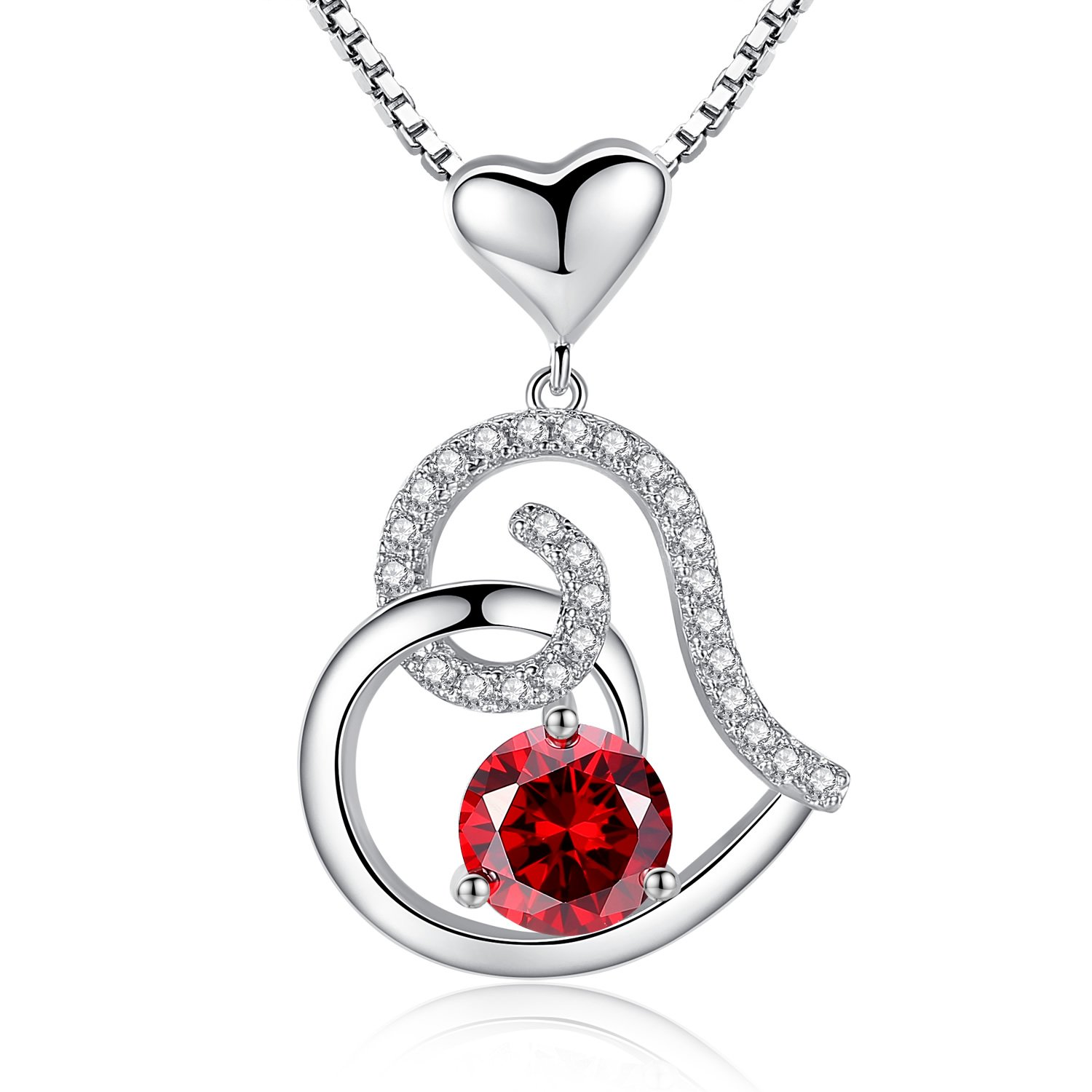 Garnet January Birthstone Necklace, Ladies Birthday Necklace Gifts, Love Heart Cubic Zirconia CZ Pendant Necklace, Jewelry for Women, Girls, Friendship, Wife, Mom, Mother, Her, Anniversary Gift