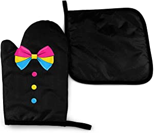 REONI Pansexual Pan Bow Pride Microwave Oven Mitts and Pot Holders Cover Set Heat Insulation Blanket Mat Pad Mittens Glove Baking Pizza Barbecue BBQ Accessories Home Kitchen Decor