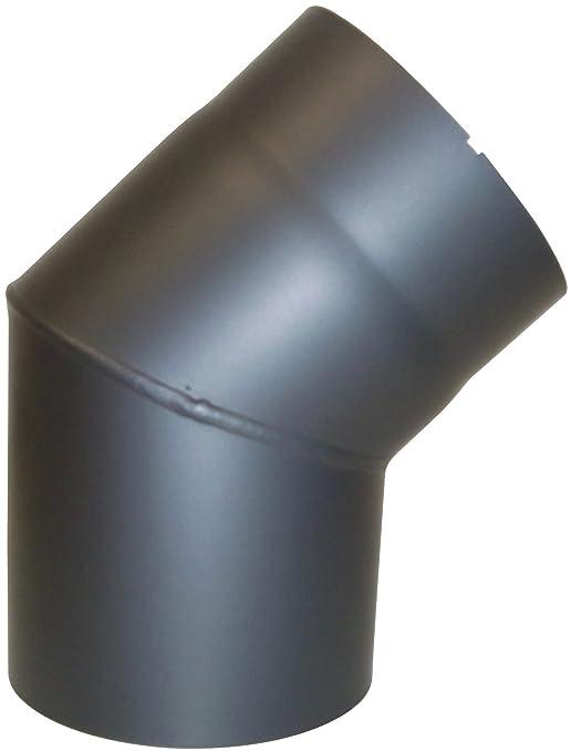 Kamino - Flam - Codo para chimenea de leña y estufa de leña, Codo vitrificado, Codo de escape - resistente a altas temperaturas - Antracita, Ø 150 mm/45°C: ...
