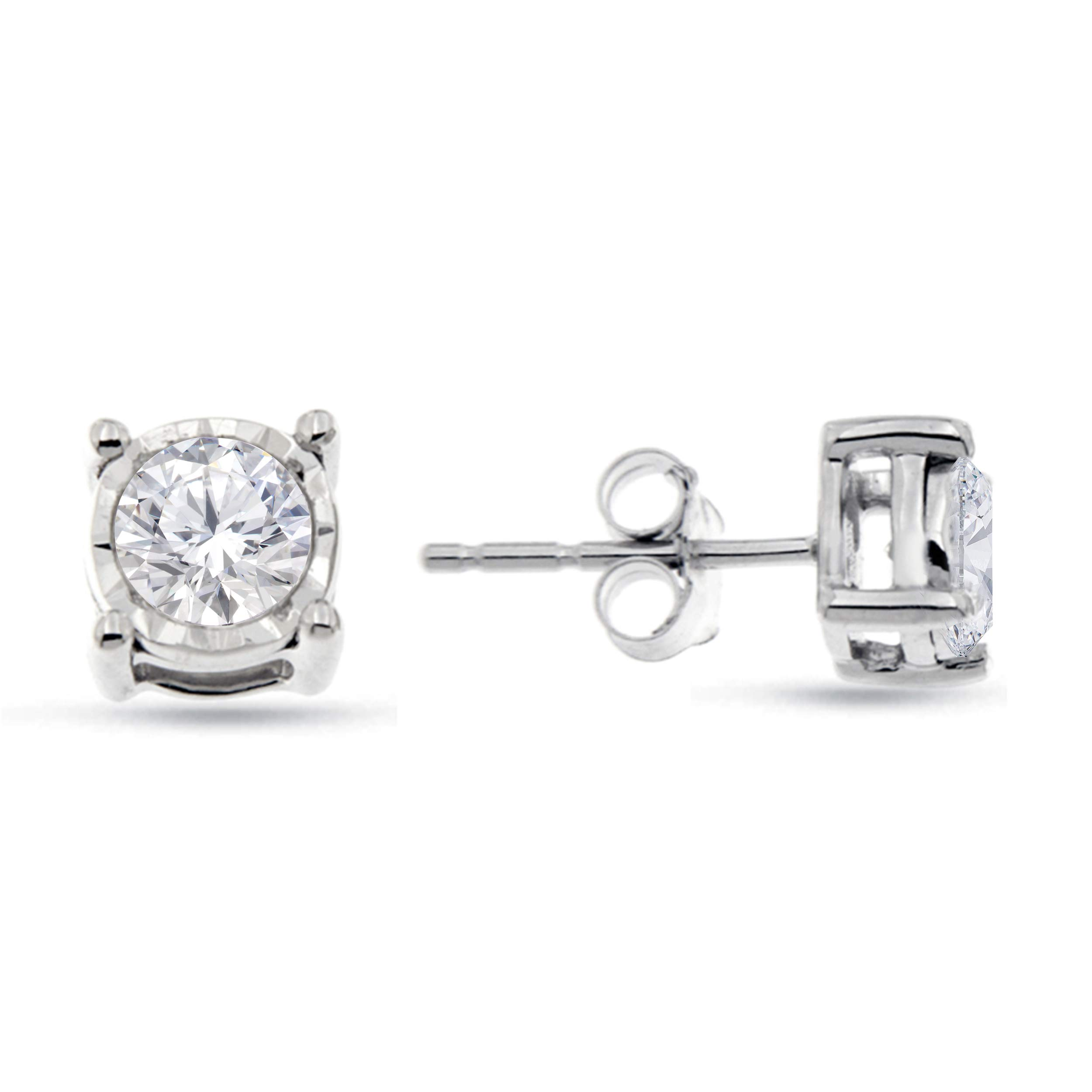 Natalia Drake Sterling Silver Miraculous Diamond Stud Halo Earrings (.50ctw, H-I Color, I1-i2 Clarity)