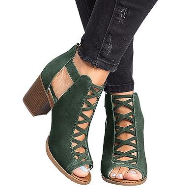 fa9d99203 Runcati Womens Peep Toe Chunky Block Heels Ankle Strap Zipper Back High Heel  Sandals