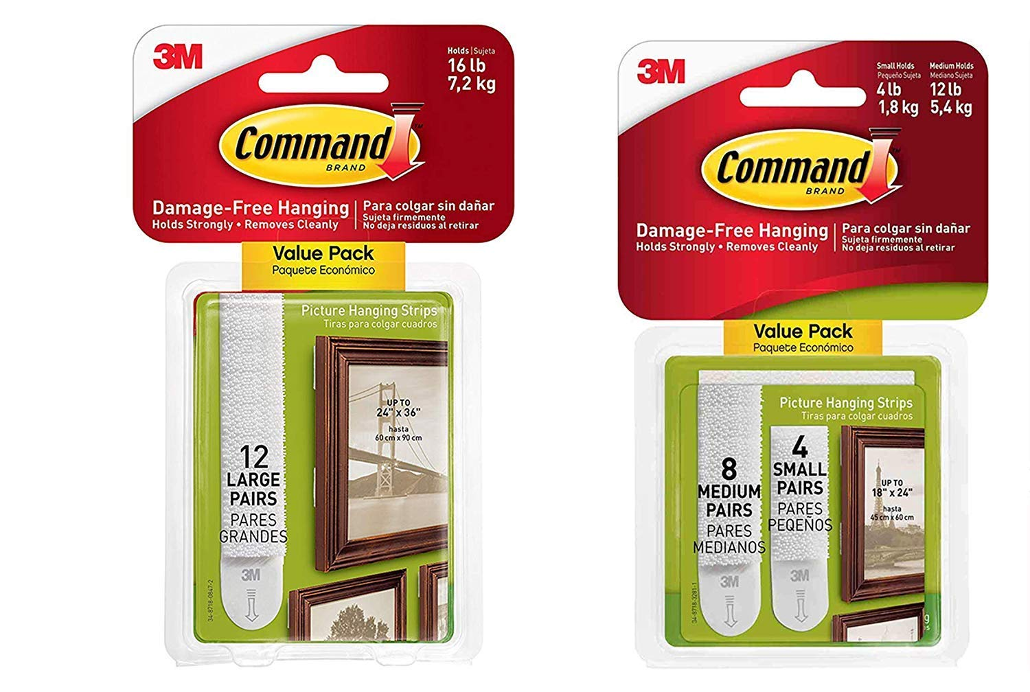 Command Picture & Frame Hanging Strips Value Pack TVZV, 4-Small, 8-Medium and 12 Large Pairs, White