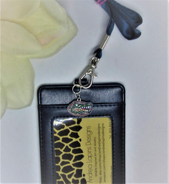 Lanyard Badge Holder, Fl Gator Fan Gift, ID BADGE HOLDER BIFOLD PURSE CARD CASE WALLET LANYARD NECKLACE, Gator Charm