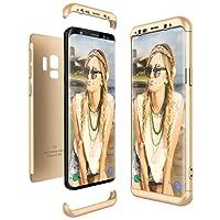 Samsung Galaxy S9 Hülle, CE-Link Hardcase 3 in 1 Handyhülle Ultra Dünn Hartschale 360 Grad Full Body Schutz 3 Teilig Styliche Handytasche Backcover Schutzhülle Anti-Kratzer Elegant Stoßfest Hart PC Skin Rückdeckel Glatte Bumper - Gold