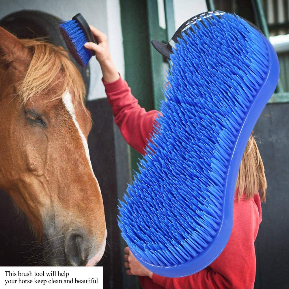 Pssopp Horse Grooming Brush Professional Equine Curry Comb Horse Cleaning Brushes Soft Touch Brush for Horse Grooming Care
