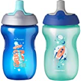 Tommee Tippee Sportee Bottle, Blue & Green/Pink & Purple, BPA-Free, 10 Ounce, 12+ months, 2 Count (Colors will vary)