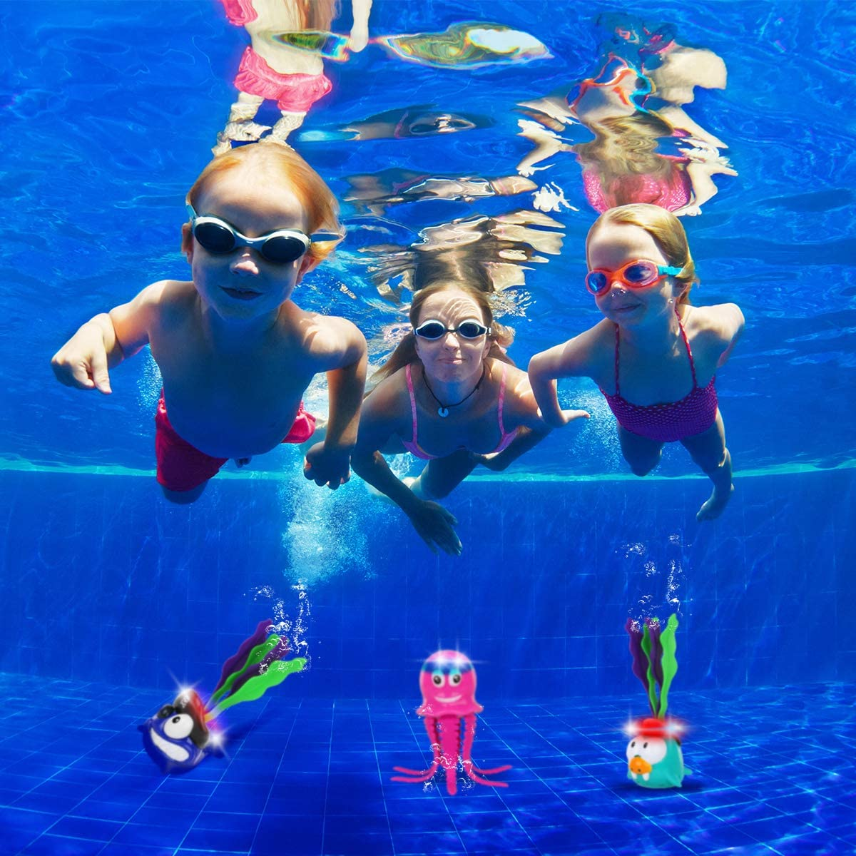 Swimming Pool Toys Light UP Diving Toys Sinking Dive Sticks for Pool Games Summer Outdoor Water Toys for Kids Boys Girls Kindergarten Preschoolers Aged 3 4 5 6 7 8 9 10 Including 3 Cute Marine Animals