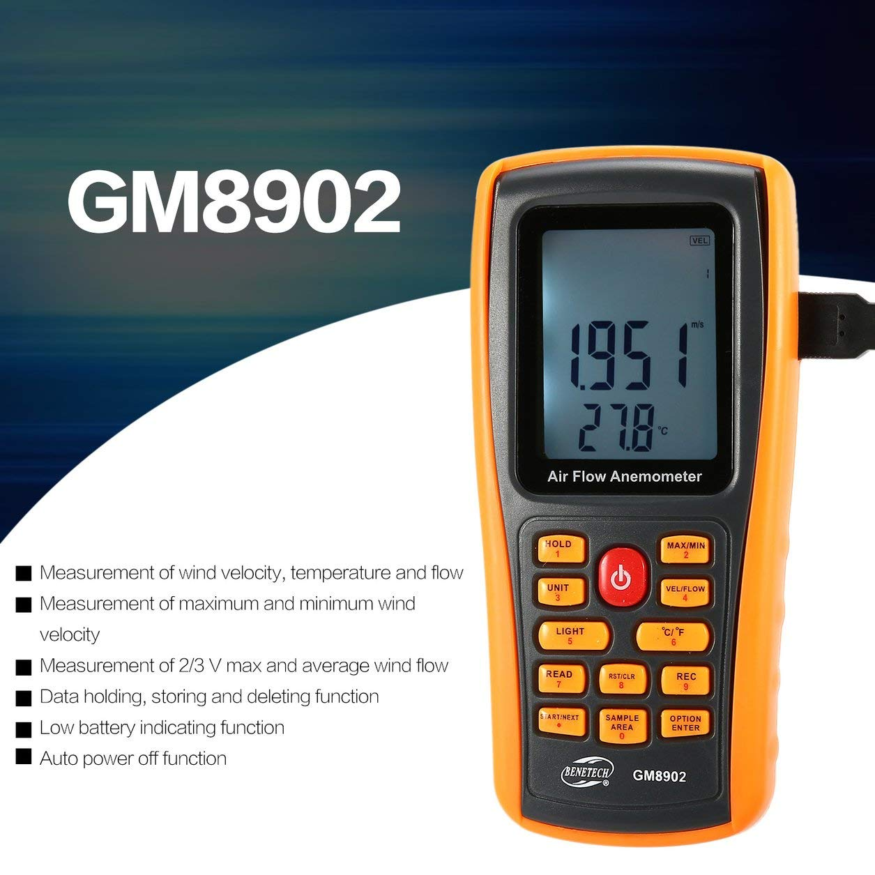 Dailyinshop BENETECH GM8902 0-45M / S Digital Anemometer Windgeschwindigkeit Meter mit USB-Schnittstelle (Farbe: schwarz und Orange)