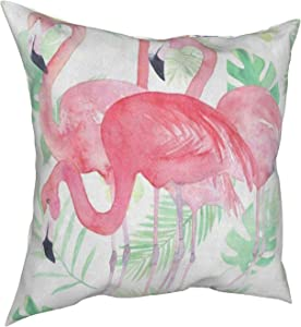lightly Throw Pillow Covers 18x18, Watercolor Leaf Pink Flamingo Decorative Pillow Covers for Couch, Sofa and Bed, Super Soft and Luxury Pillow Cases Covers, Square Pillow Covers
