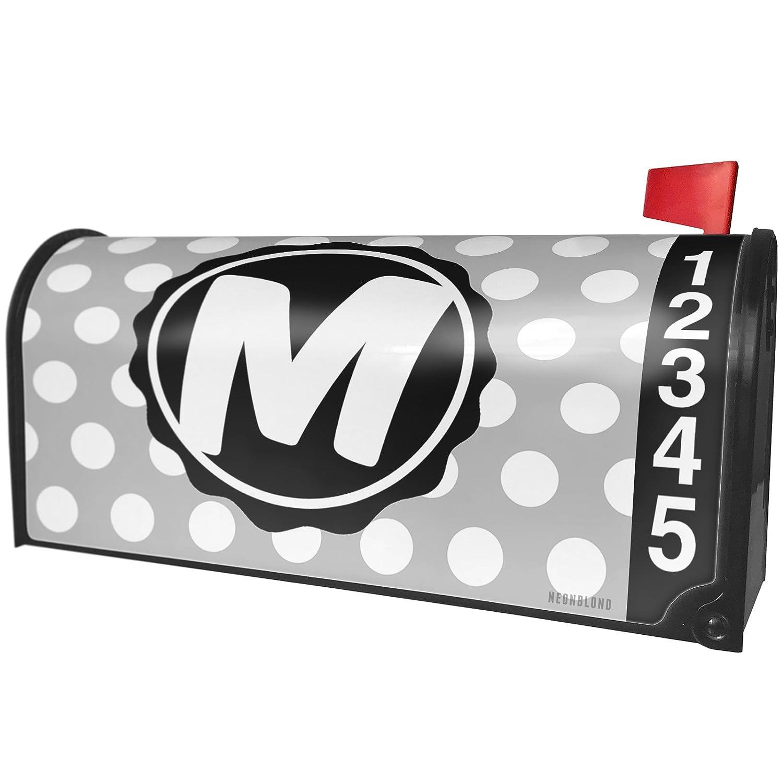 NEONBLOND Monogram M Grey Black Polka Dots Magnetic Mailbox Cover Custom Numbers