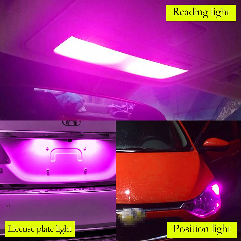 YaaGoo Compact Small bulb License Plate Lights Lamp,T10 168 194 2825 W5W,amber yellow,2pcs