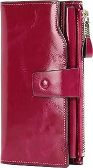 PARVENZA Women's RFID Blocking Large Capacity Luxury Wax Genuine Leather Purse Wallet Rose PVZ0702R