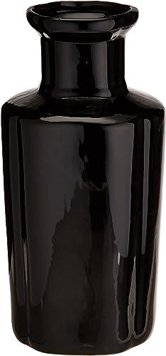 Oriental Furniture 12 Solid Black Porcelain Vase