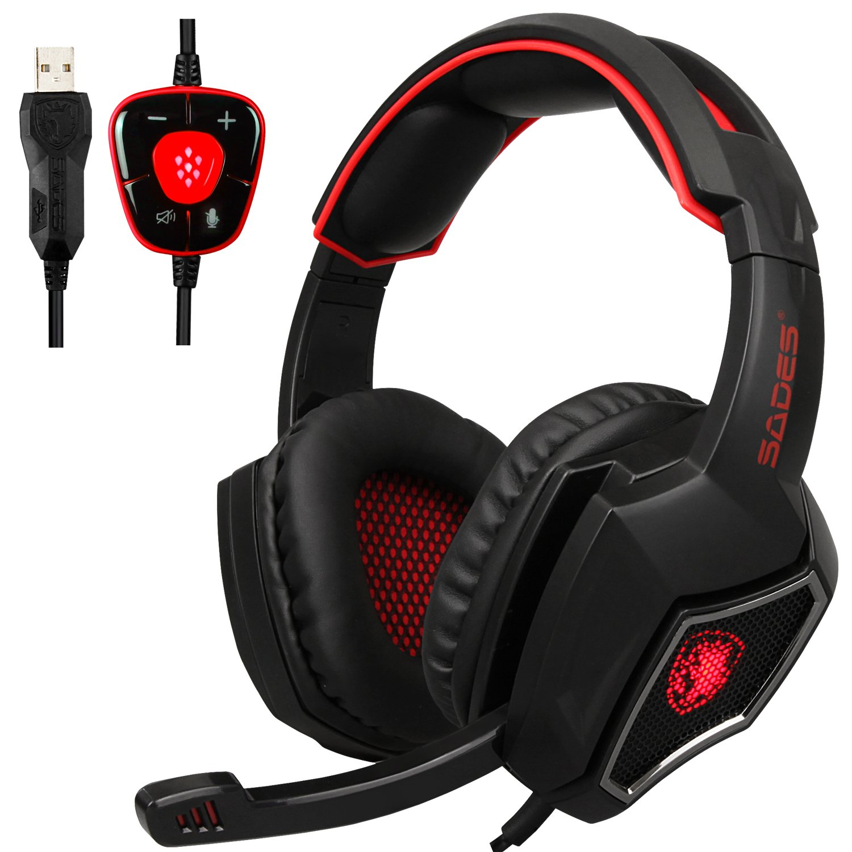 Sades Headset Spirit Wolf 7.1Cuffie Computer Gaming Headset Stereo Surround Sound USB cablato con Isolamento Acustico, Microfono, Controllo del Volume, luci a LED per PC Gamers Black+Red
