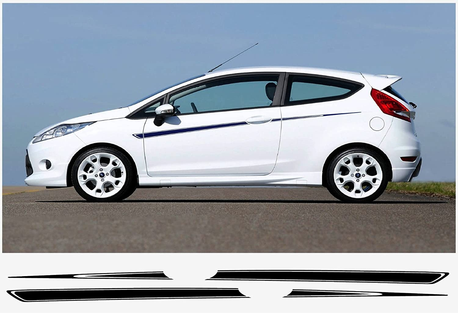 Amazon com ford fiesta side stripe decal set s1600 limited edition dark blue automotive