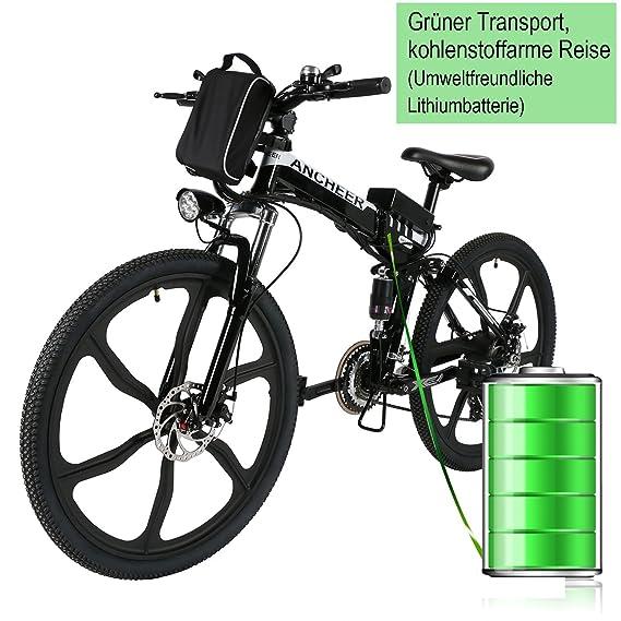 ancheer plegable E-Bike, 26 pulgadas bicicleta eléctrica 36 V 250 W Eléctrico Mountain Bike con Super ligero aleación de magnesio 6 radios integrada ruedas, ...