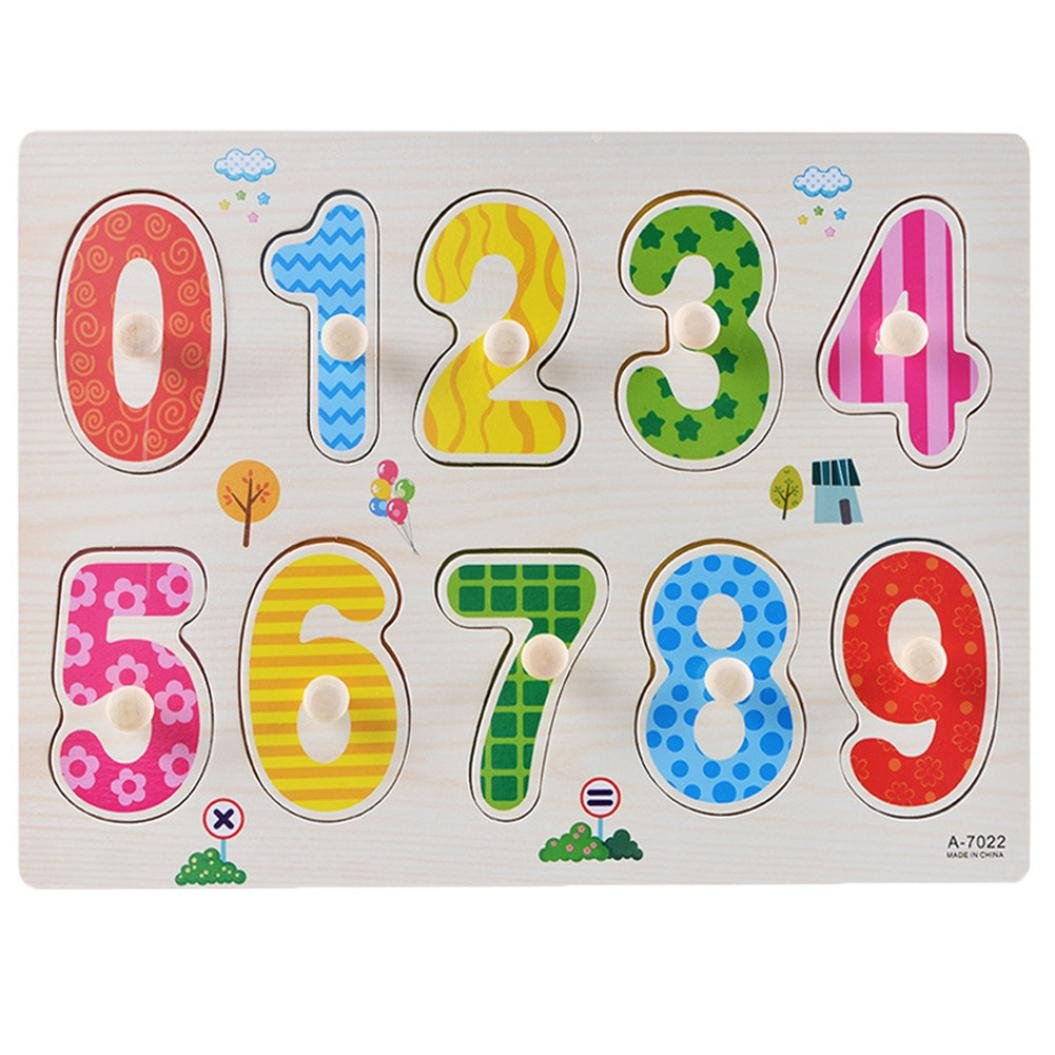 ANBOO 10 Numbers Preschool Early Educational Development Wooden Puzzles Birthday Gift Toy for Age 1 2 3 Child Kids Toddlers Baby Boys Girls Childrens Counting Learning