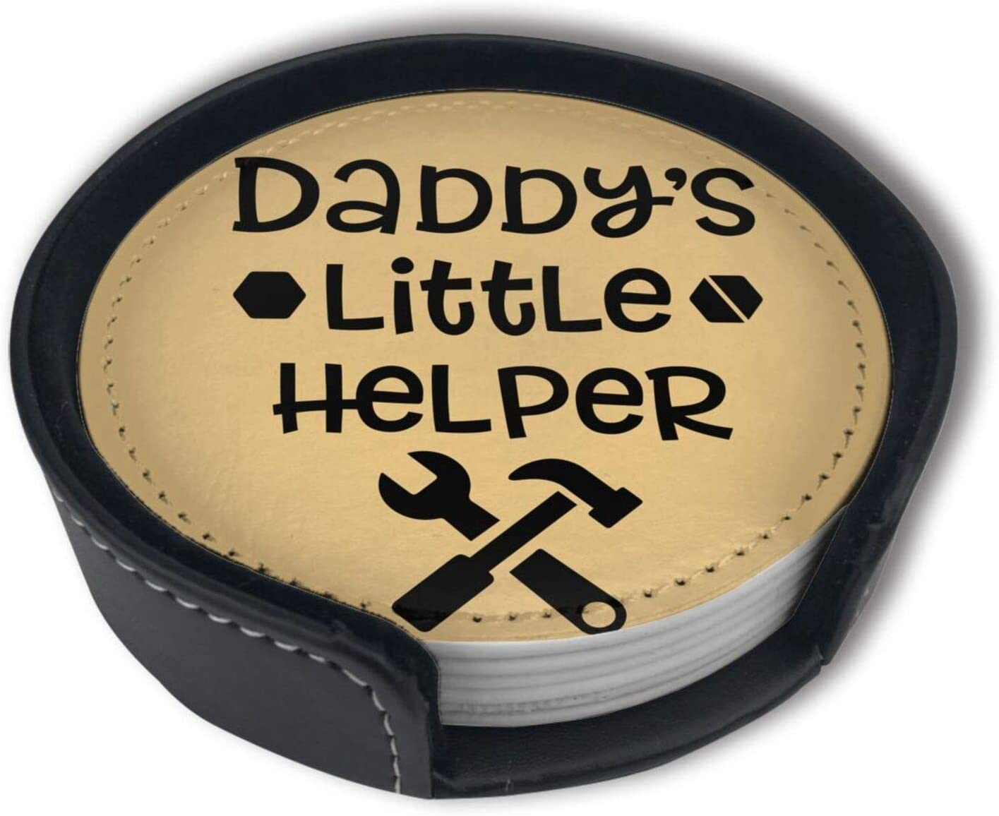 Daddy'S Little Helper 6-Pack Coaster For Drinks Set With Holder Absorbent Leather Coasters Round Cup Mat Pad For Home And Kitchen