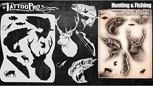 Tatuaje Pro Plantillas Serie 4 - Caza y Pesca: Amazon.es: Hogar