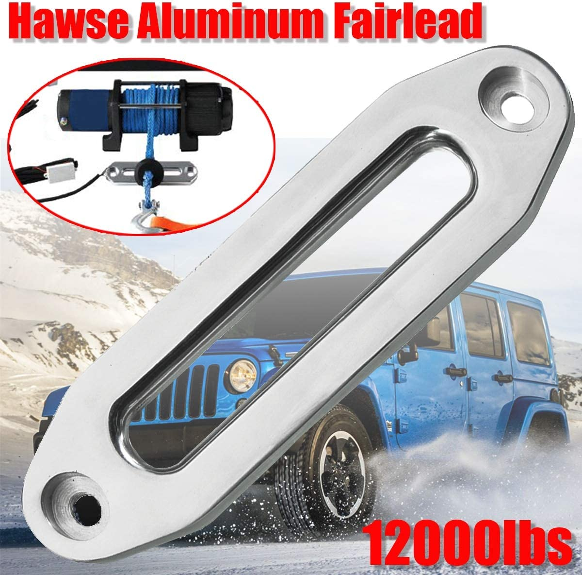 Hot 12000lbs Polished Winch Rope Guide Hawse Aluminum Fairlead For Off-Road 4WD