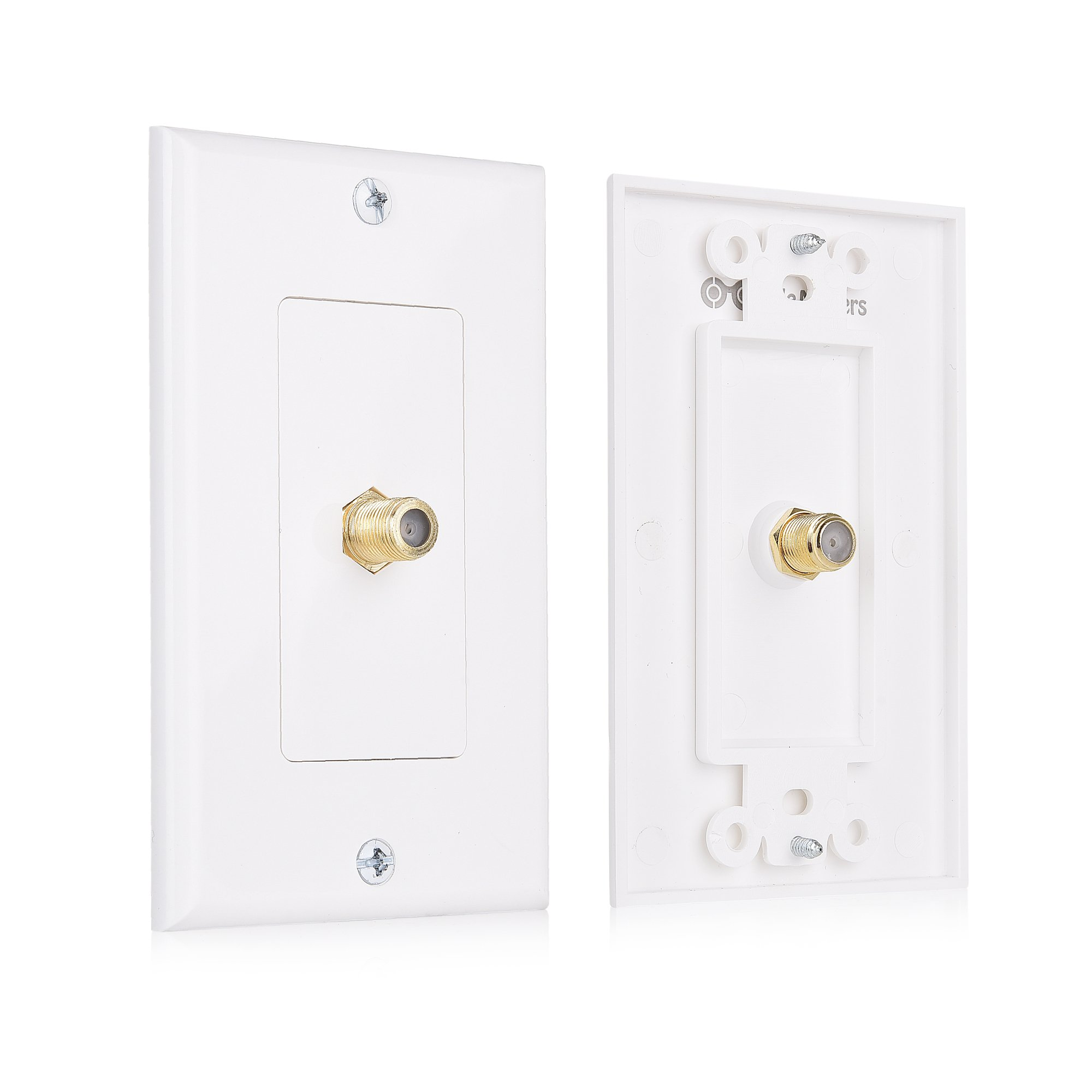 Cable Matters 2-Pack 1-Port TV Cable Wall Plate (Coax Wall Plate) in White