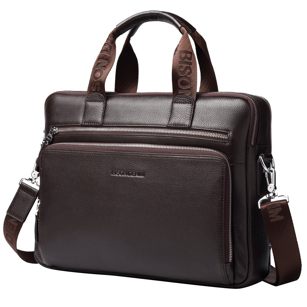 Bison Denim Mens en cuir v/éritable porte-documents sacs /à main N2333-3XL-Noir