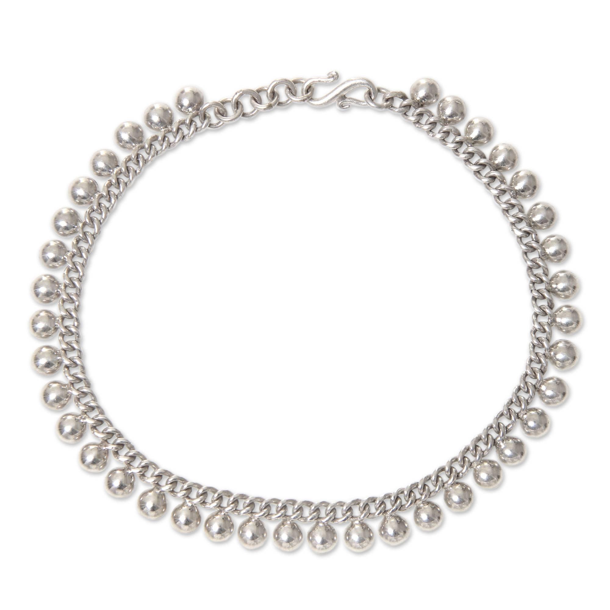 NOVICA .925 Sterling Silver Adjustable Length Chain Anklet, 11'' 'Moonlit Path'