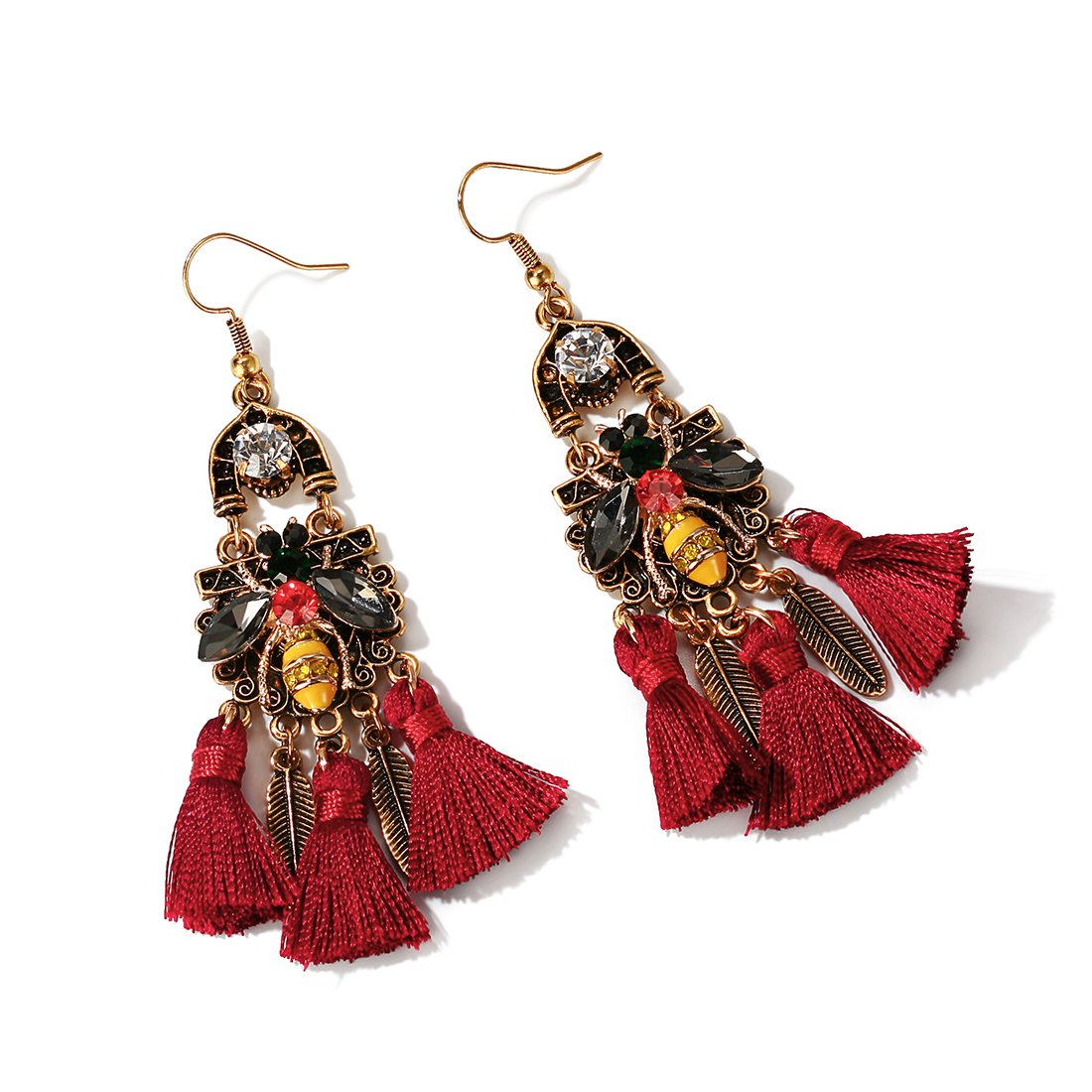 QANCI Women's Red Tassel Bee Retro Baroque Feather Dangle Drop Earrings for Girls Pretty Personalized National Style Charming Gifts by QANCI