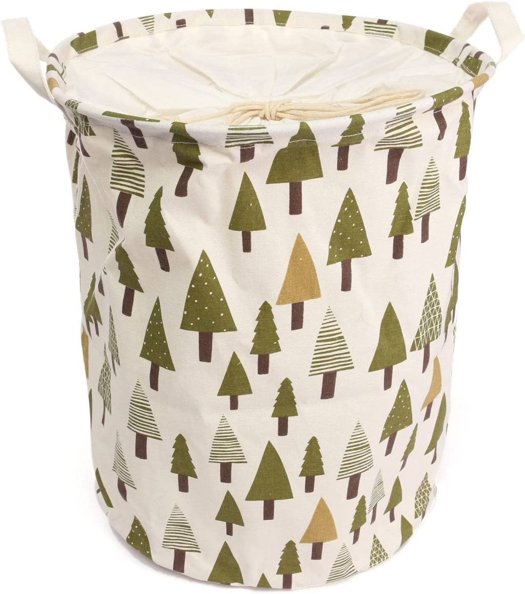 KingSo Fabric Foldable Round Laundry Basket Hamper Closet Storage Bin Bag with Drawstring Cover 18 x 14 Inch