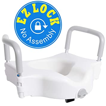 Terrific Vaunn Medical Elevated Raised Toilet Seat And Commode Booster Seat Riser With Removable Padded Grab Bar Handles And Locking Mechanism Gamerscity Chair Design For Home Gamerscityorg
