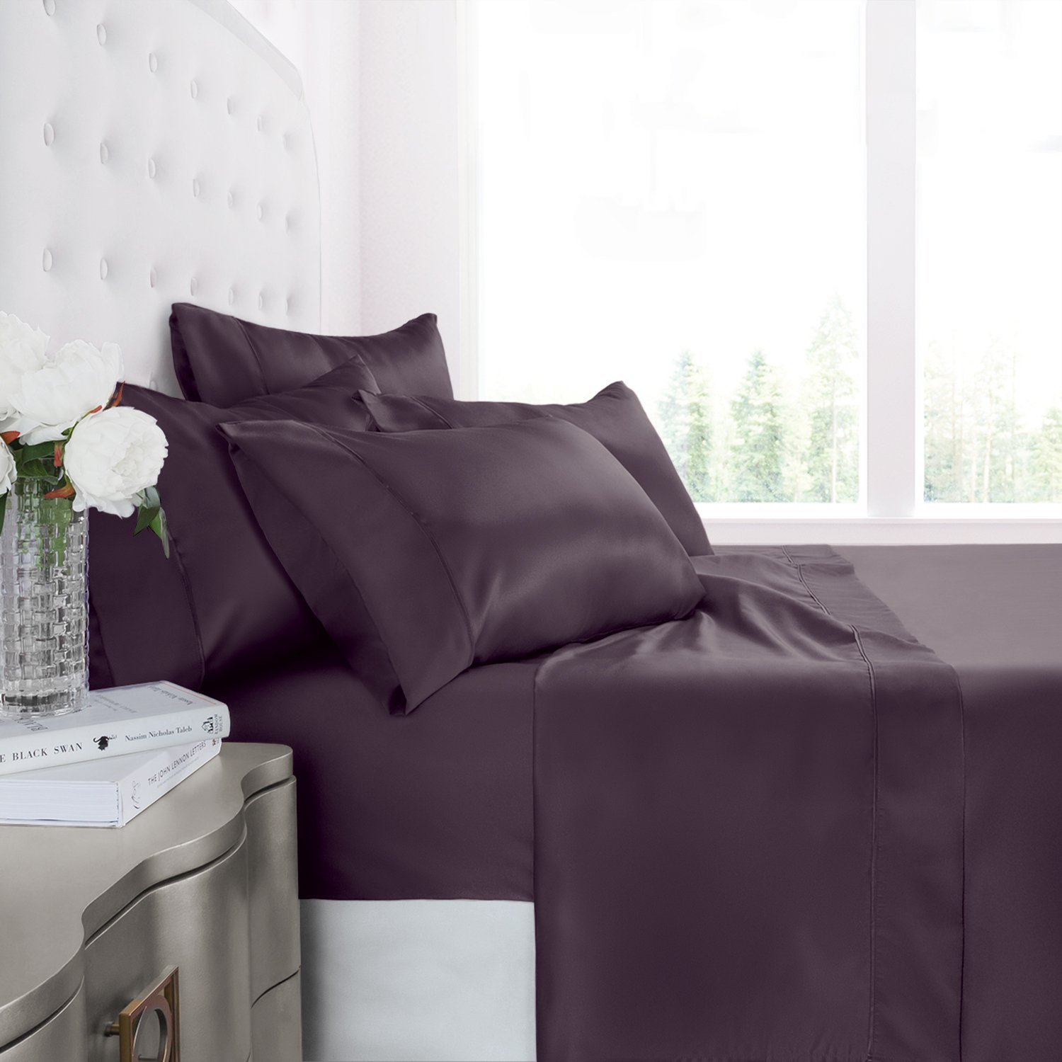 Egyptian Luxury 1200 Series Silky Soft Satin 4-Piece Bed Sheet Set - Ultra Smooth Satin Microfiber - Wrinkle and Fade Resistant, Hypoallergenic Sheet and Pillow Case Set -King - Purple