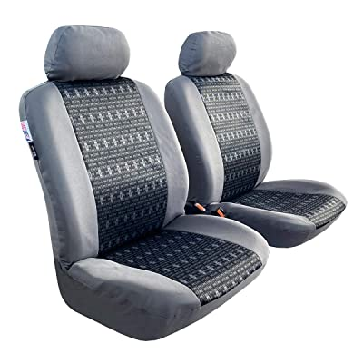 iSEATCOVER Full Coverage Car Seat Covers, Full Set Seat Covers of 5 Detachable Headrests and Solid Bench, Universal Auto Seat Protector Fit Most Car, Truck, or SUV, Airbag & Split Ready (Gray): Automotive