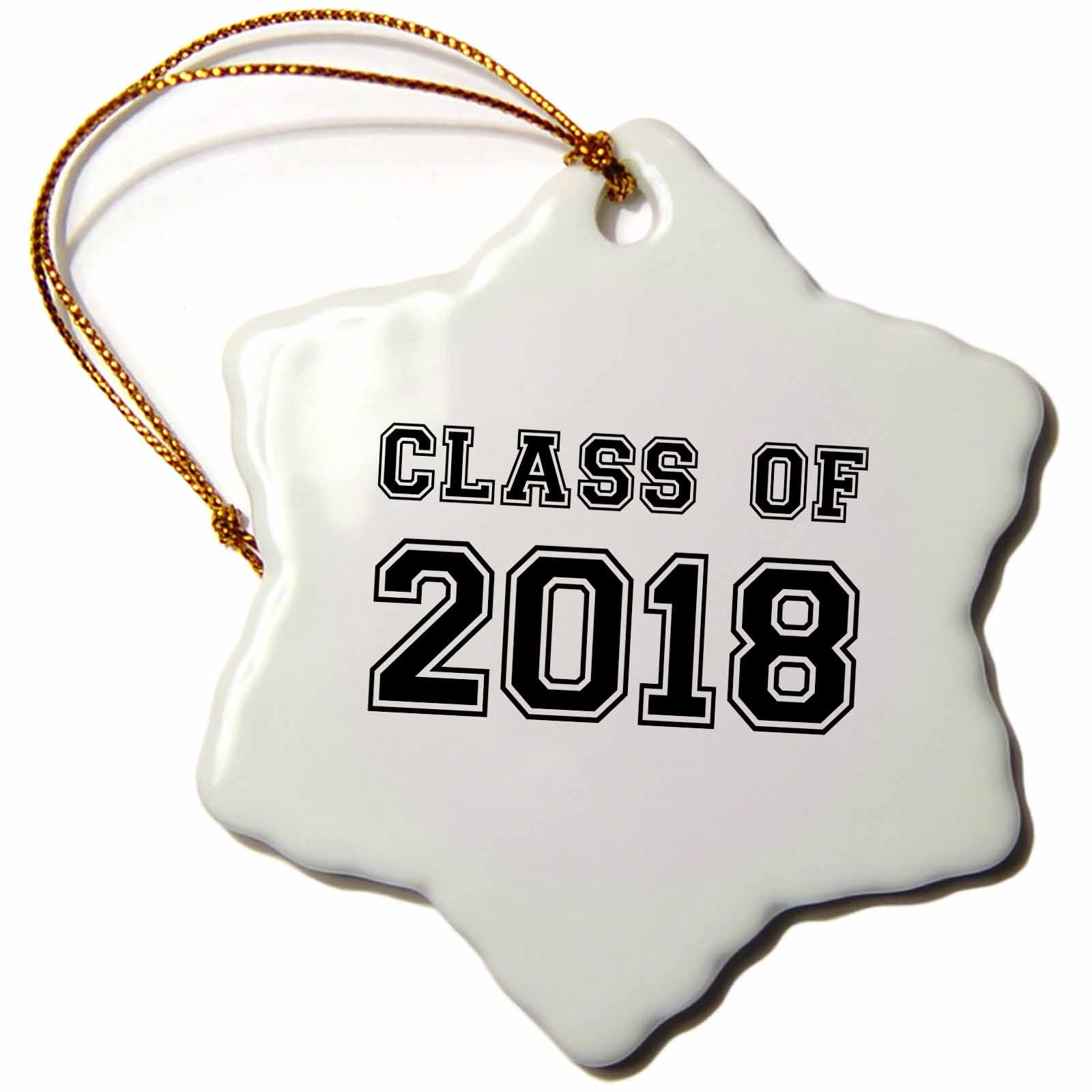 3dRose InspirationzStore Typography - Class of 2018 - Graduation gift - graduate graduating high school university or college grad black - 3 inch Snowflake Porcelain Ornament (orn_162669_1) by 3dRose (Image #1)