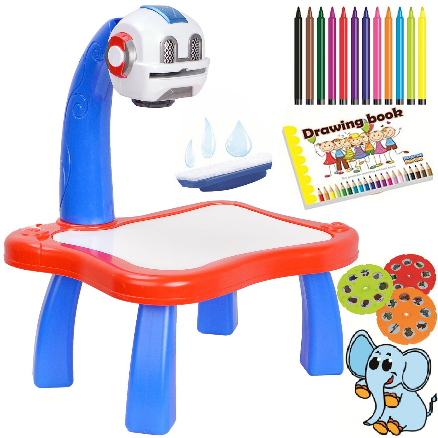 7TECH Drawing Projector Painting Desk With 24 Patterns-12 Colorful Water Pens Treasures Tracer Art Projector For Kids - Robot Style
