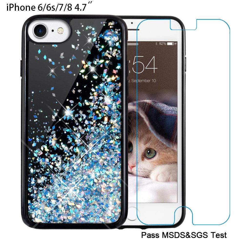 I Phone 6/6s/7/8 Case, Maxdara [4.7 Inch Screen Protector] Black Glitter Liquid Sparkle Protective Bumper Case Floating Bling Pretty Quicksand For Girls Children [Pass Msds&Sgs Safety Test] (Blue) by Maxdara
