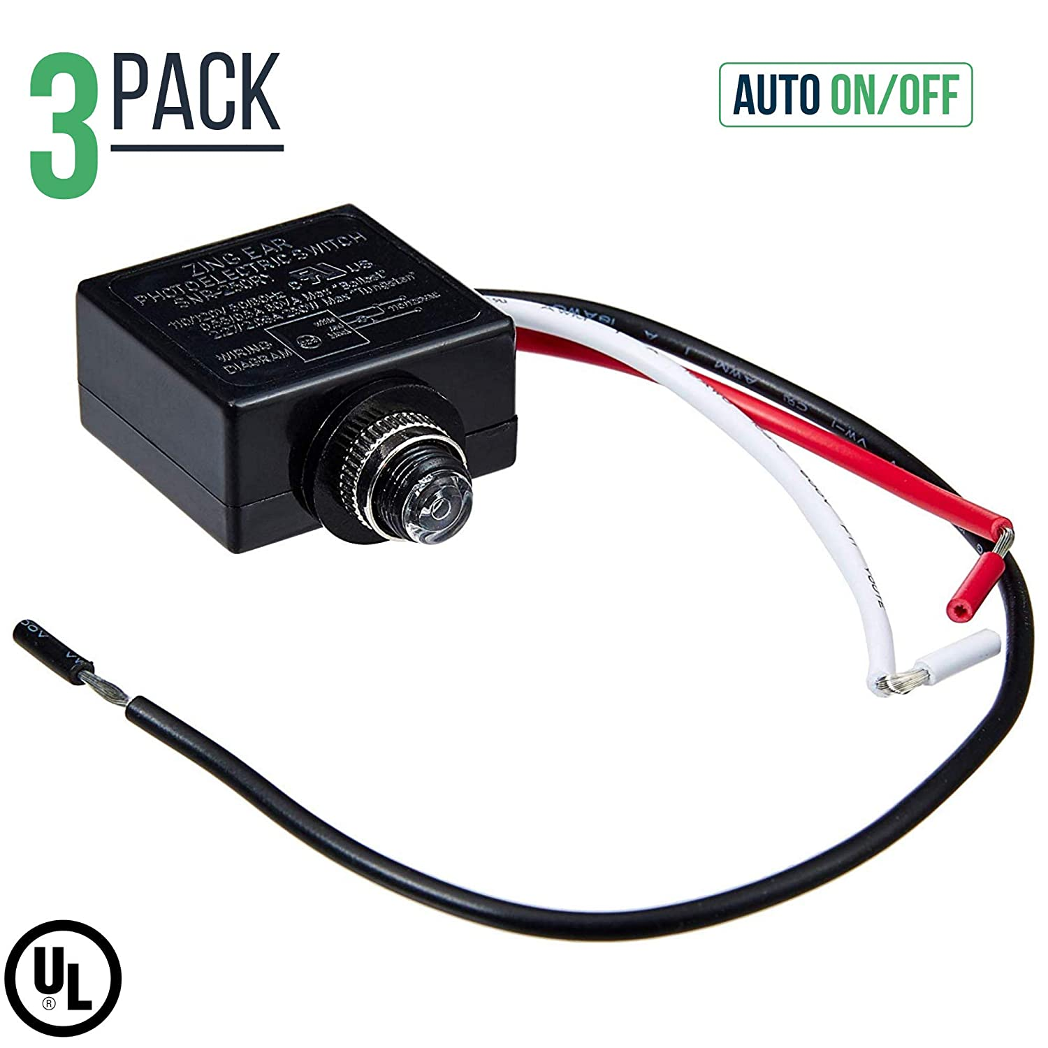 120 Volt Dusk To Dawn Photocell Photoeye Light Sensor Switch Auto Precision Photoelectric Wiring Diagram T15 On Off Use With Fluorescent Incandescent Or Led Bulbs Sockets