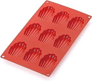 Lekue 9 Cavities Madeleines Multi Cavity Baking Mold, Red