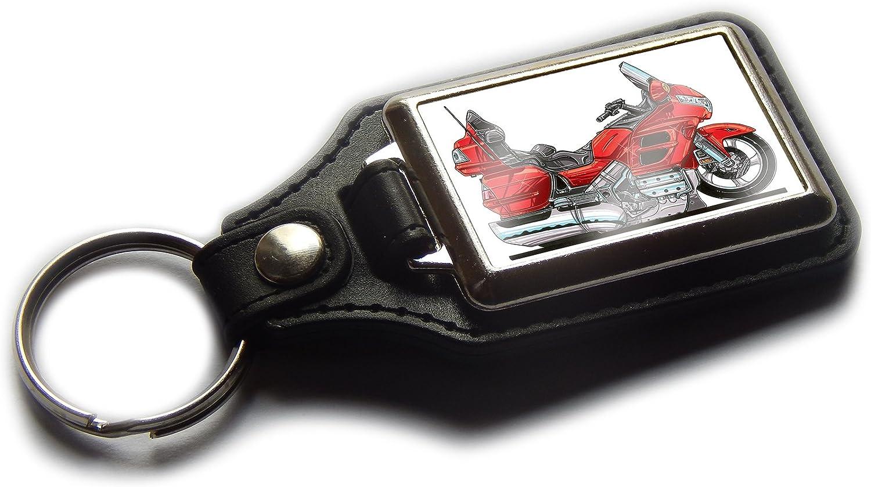 Koolart Cartoon Motorbike Goldwing Touring Motorcycle Quality Leather and Chrome Keyring Choose a Colour Black
