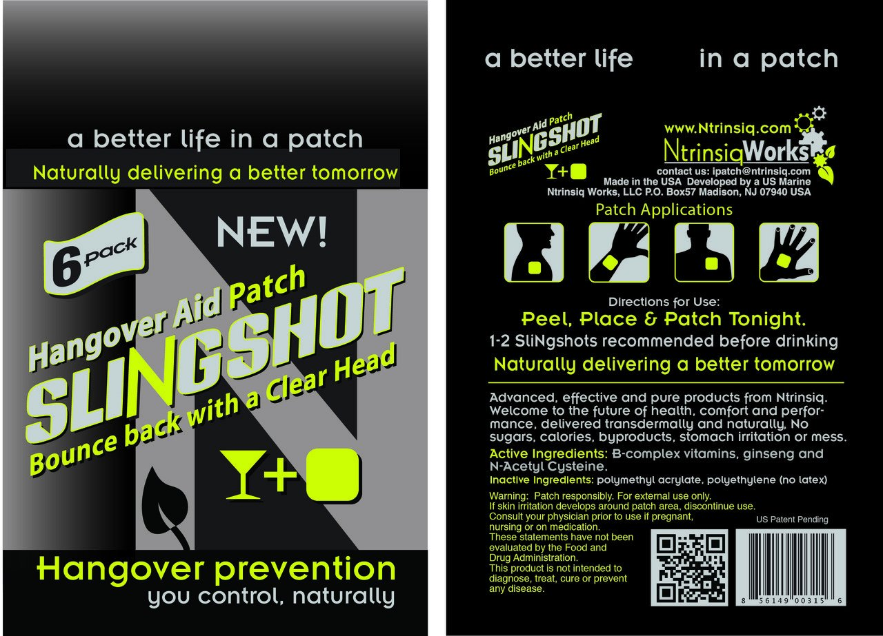 Ntrinsiq Works Slingshot - hangover Prevention Patch - Made With B-Complex (B1, B2, B3, B5, B6, B7, B9, B12), N-acetyl Cysteine & Ginseng (90 Pack)