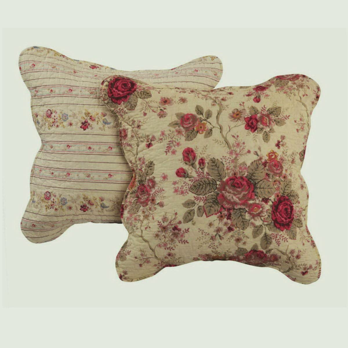 Finely Stitched Cottage Romantic Floral Roses Print Pattern Cream Yellow Decorative Accent Throw Pillows Set Pair 2
