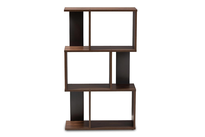 Baxton Studio 148-8257-AMZ Vivace Display Bookcase, Walnut Brown Dark Grey