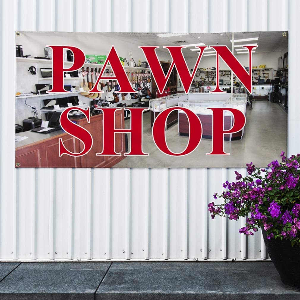 One Banner Multiple Sizes Available 8 Grommets 48inx96in Vinyl Banner Sign Pawn Shop #1 Style B Business Pawn Shop Marketing Advertising Grey