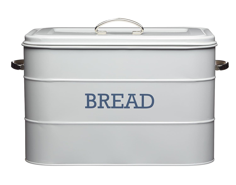 Kitchencraft Living Nostalgia Large Metal Bread Bin, 34 x 21.5 x 25cm - French LNBBINGRY