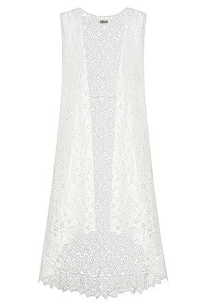 Gleamiss Lace Open Long Sleeveless Top Cardigan Crochet Vest Bikini
