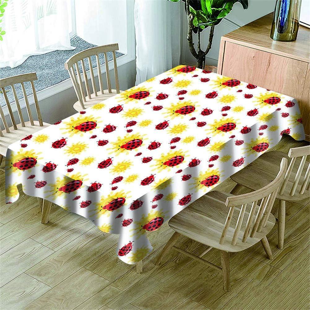 Morbuy Manteles Mesa Rectangular Antimanchas -3D Animal Estampado Manteles Cuadrada Impermeable Lavable Mantel para Decoración Cocina Salón Jardín Comedor (Mariquita roja,150x300cm)