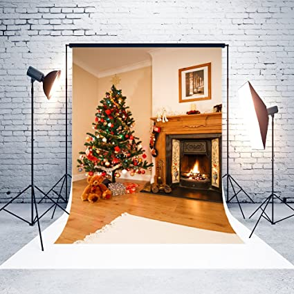 5x7ft microfiber christmas tree fireplace party decorations photo booth background seamless collapsible washable and no creases - Fireplace Christmas Decorations Amazon